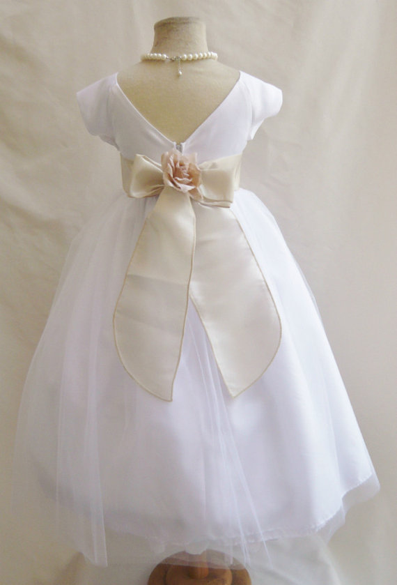 Flower Girl Dresses - WHITE With Champagne Satin Dress (FD0SV ...
