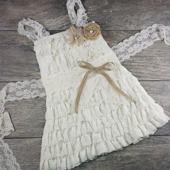 Wedding - Rustic Ruffle And Lace Flower Girl Dress // Country Wedding // Burlap Flower Sash // Girls Ivory Lace Country Dress