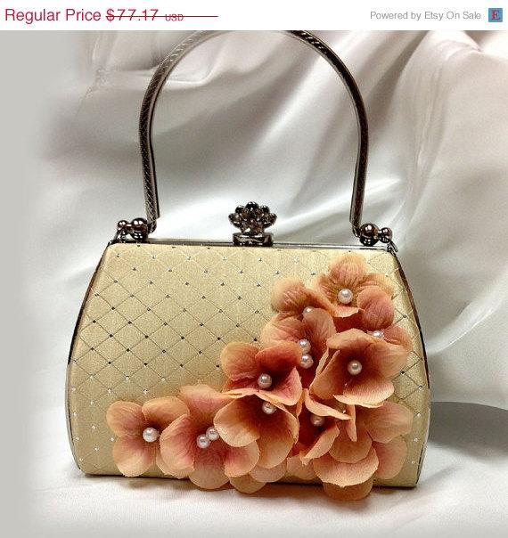 Wedding - Wedding clutch, Champagne Bridal clutch, Blush clutch , pearl clutch, bridal evening bag, bridesmaid bag