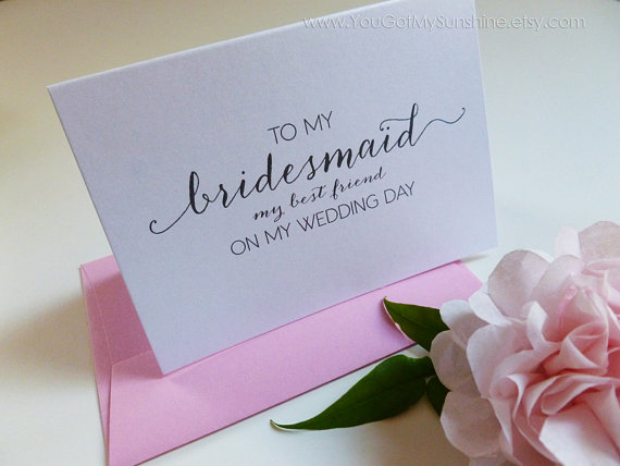 To My Bridesmaid My Best Friend Wedding Thank You Card Pink