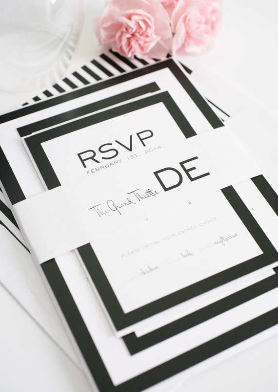 Свадьба - Black and White Wedding Invitation - Simple Monogram, Bold Wedding Invites - Modern Luxe Wedding Invitation by Shine Invitations