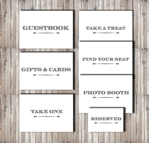 Hochzeit - Wedding Signage Levrier Set of 7 - wedding cards printable sign diy