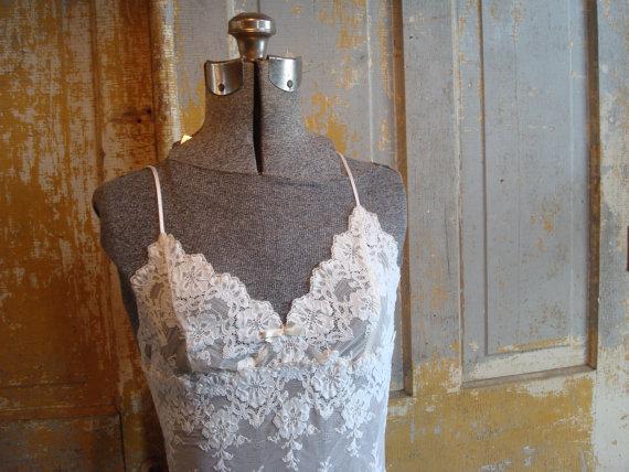 Свадьба - vintage nightgown/ elegant/ romantic/ ivory/ white/ wedding slip dress