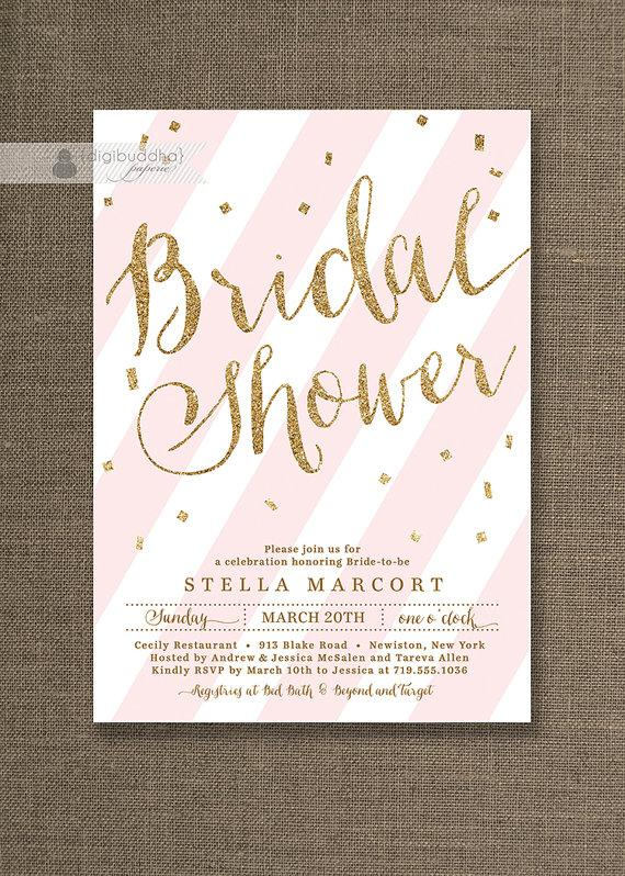 Свадьба - Gold Glitter Bridal Shower Invitation Pink & White Stripes with Gold Confetti Sprinkle FREE PRIORITY SHIPPING or DiY Printable - Stella