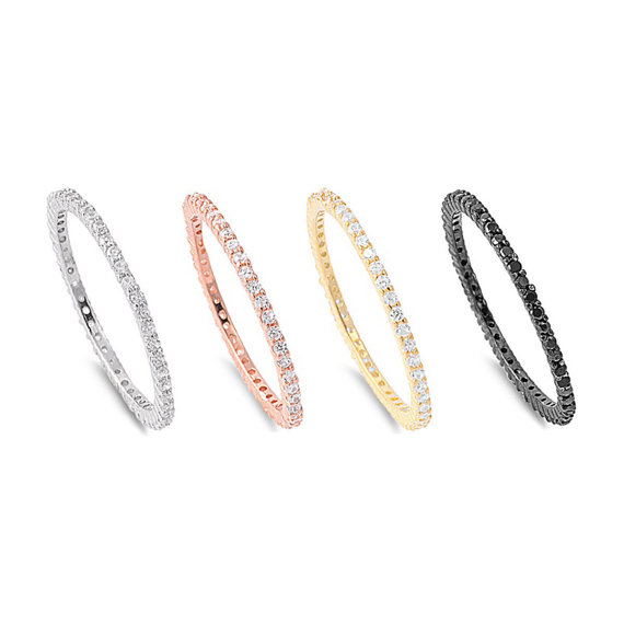Thin 2MM Rose Gold Black Gold Yellow Gold Sterling Silver