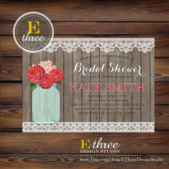 Hochzeit - Printable Rustic Bridal Shower Invitation - Shabby Chic Lace, Wood, and Mason Jar, Pink Flowers Wedding Shower Invitation