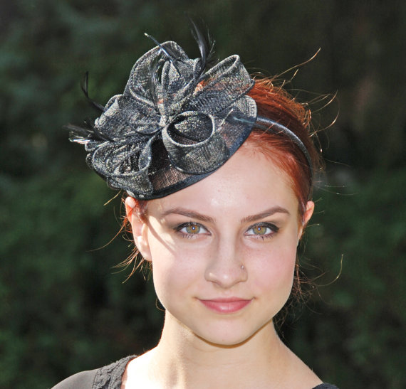 Boda - Black Fascinator Hat - Kentucky Derby Hat, Wedding Fascinator hat - tea Party Fascinator hat - fascinator headband - British Fascinator