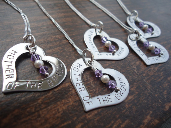 Mariage - Set of 6 Personalized Bridal Party Heart Necklaces And/or Bouquet Charms with Swarovski Crystal - Mother of the Bride Necklace