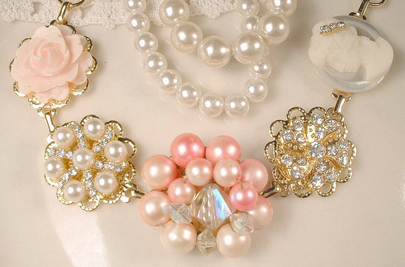Mariage - Valentines Day Pink Pearl Gold Vintage Cluster Earring Bracelet Blush & Ivory Rhinestone Bridal Jewelry Bridesmaids Gift Shabby Chic Wedding