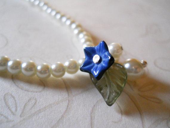 Mariage - Flower Girl Necklace, Pearl Flower Girl Necklace, Girls Pearl Necklace, Pearl Flower Girl Jewelry, Weddings, Flower Girl