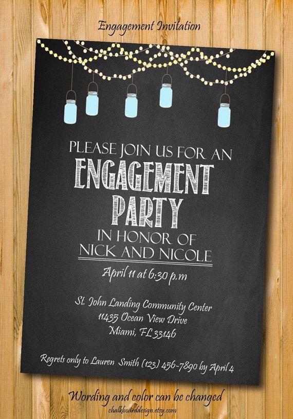 Wedding - Engagement invitation, Engagement Party invitation, custom chalkboard invite, Printable invitation