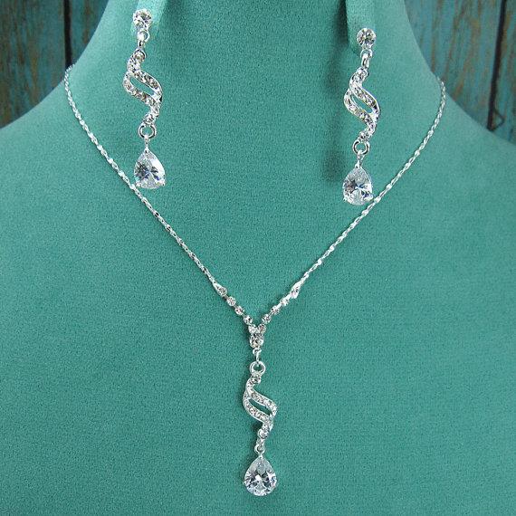 Wedding - Crystal Rhinestone CZ Jewelry Set, Crystal Wedding Necklace Set, bridal jewelry set, wedding jewelry set, bridesmaid jewelry set