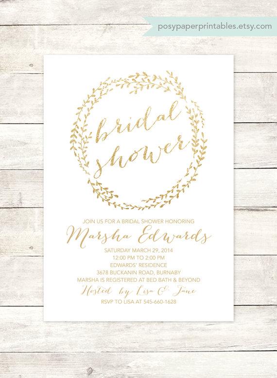 زفاف - white gold bridal shower invitation printable white gold glitter wreath modern wedding shower digital invite customizable personalized