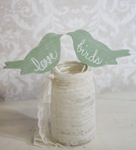 Mariage - Wedding Cake Topper Love Birds Shabby Chic Wedding Decor (item P106031)