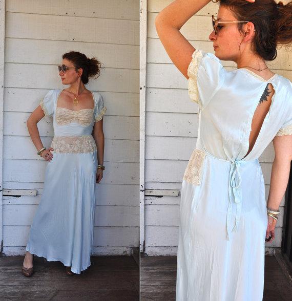 Свадьба - Vintage 1930s Light Blue Satin & Lace Night Gown Bias Cut Bridal Lingerie Ivory Lace Slip 30s Night Gown 30s Night Gown size XS - S