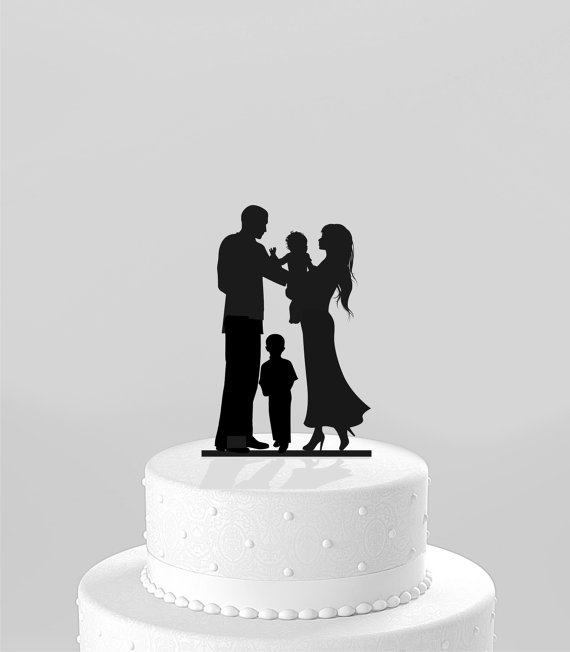 Wedding Cake Topper Silhouette Bride Groom Holding Baby With Little Boy