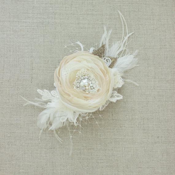 زفاف - Wedding hairpiece Bridal hair piece Bridal hair accessories Wedding headpiece Wedding hair flower burlap Lace vintage Ivory Beige Champagne