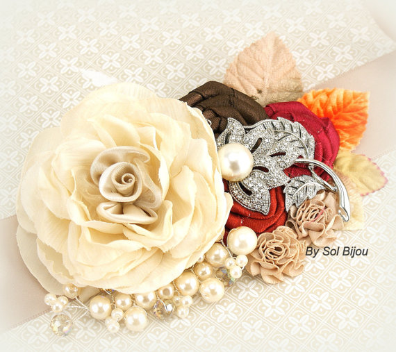 Mariage - Bridal Sash Wedding Sash in Ivory, Tan, Champagne, Rust Red, Chocolate Brown, Raspberry and Orange- Fall Wedding