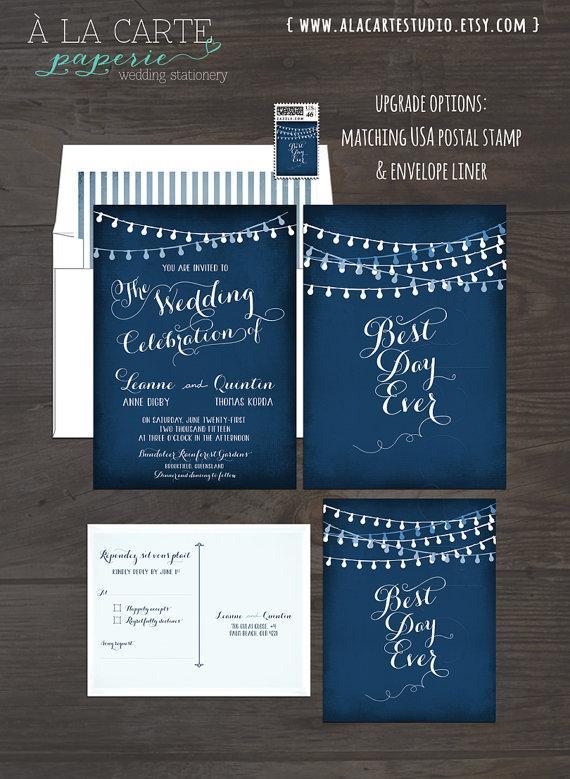 Wedding - String Light Chalkboard Wedding Invitation Card and RSVP Best Day Ever Navy or Eggplant Colors Design fee
