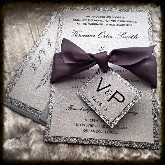 Wedding - Wedding Invitations, Silver Glitter Wedding Invitation and RSVP Set with  ribbon tag