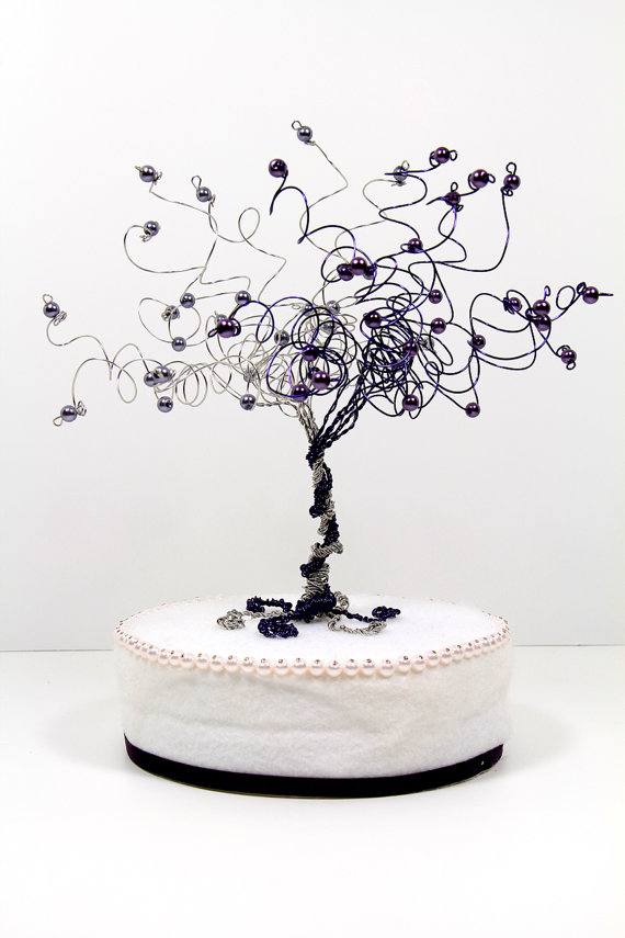 Hochzeit - When Two Become One Wedding Cake Topper Tree Custom Wire Sculpture
