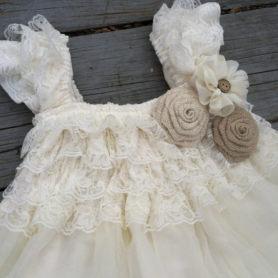 Mariage - Rustic Flower Girl Dress - Ivory Lace Flower Girl Dress - Baby Doll Dress - Rustic Flower Girl - Burlap Roses- Country Flower Girl Dress