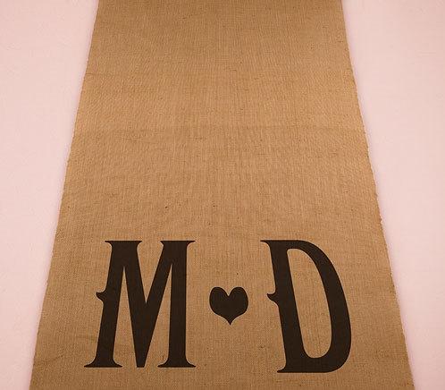 Wedding - Woodland Wedding - Personalized Burlap Aisle Runner With Monogram - Wedding Ceremony - Country Wedding - Burlap Chic