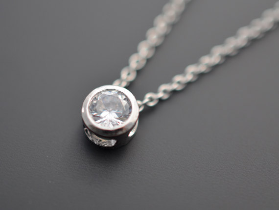Свадьба - SALE, Mini necklace, Solitaire necklace, Silver Necklace, Wedding jewelry, Bridal necklace,Delicate necklace,Anniversary gift,Christmas gift