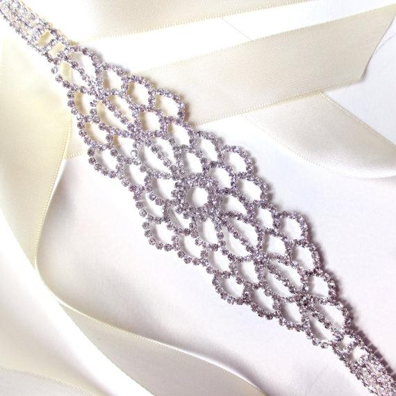 Hochzeit - Silver Rhinestone Encrusted Bridal Belt Sash - Custom Ribbon - Extra Long Silver and Crystal Wide Wedding Dress Belt