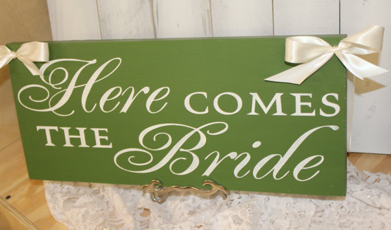 Wedding - Here Comes the BRIDE Sign/Photo Prop/Reversible Options/Great Shower Gift/Lime Green/Ivory
