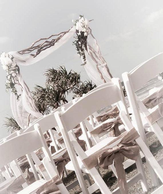 Wedding - Qty 50 Burlap chair sashes - Rustic wedding
