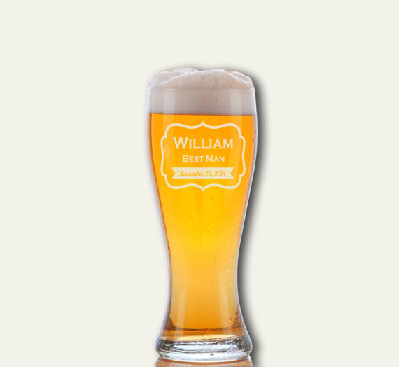 Wedding - 2 Personalized Beer Glasses, Personalized Beer Glasses, Custom Engraved Pilsner Glass, Wedding Party Gifts, Gifts for Groomsmen, 16oz
