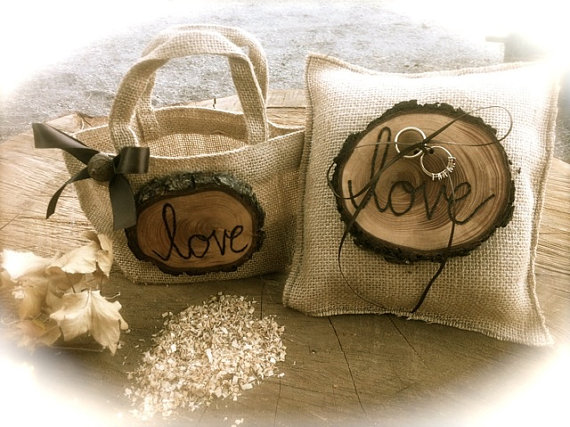 Свадьба - Rustic wedding ring  bearer pillow flower girl basket burlap winter country fall weddings accessories