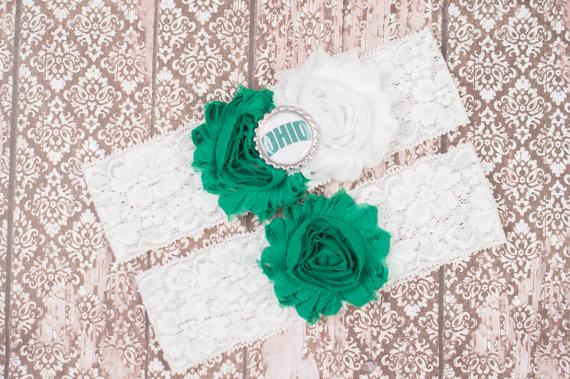 Wedding - Ohio University Bridal Garter Set, College Wedding Garter, Bridal Garter, Ohio Lace Garter, Bridal gifts, Toss Garter, Keepsake Garter,