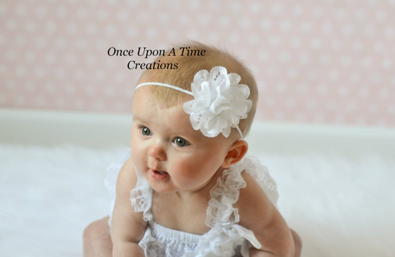 Mariage - White Eyelet Fabric Flower Spring Headband - Newborn Baby Easter Dressy Hairbow - Little Girls Baptism or Christening Hair Bow
