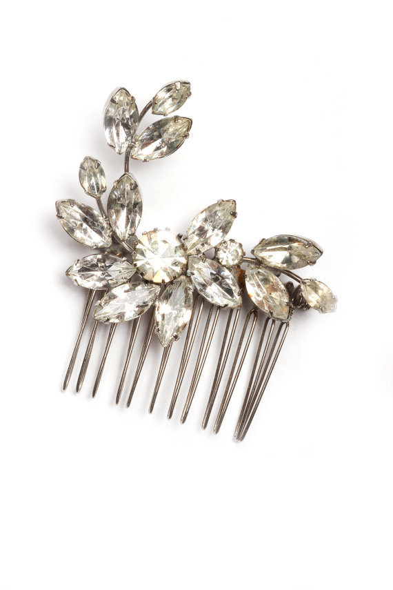 Hochzeit - Bling Hair Comb Crystal Rhinestone Hair Comb  Handmade Vintage Brooch Soldered Handcrafted Headpiece Head Piece Bridal Bling Brooch 1000167