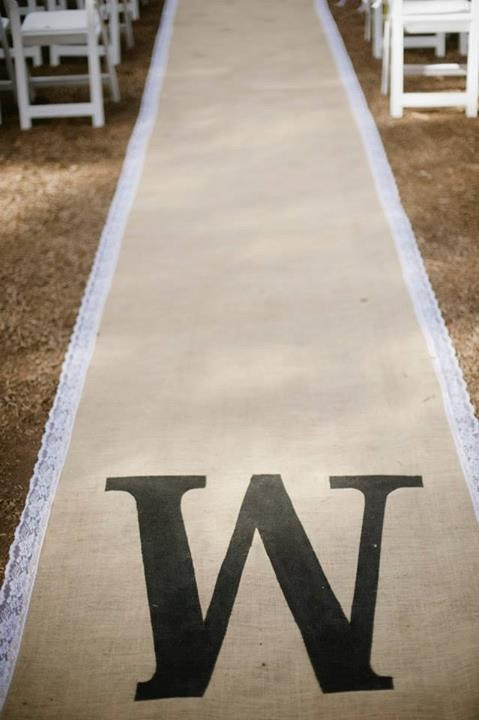 Hochzeit - Burlap Custom Made Aisle Runner 50 ft with white lace border on both sides ( monogram not included)