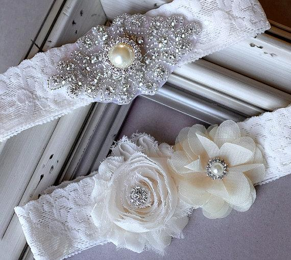 Hochzeit - Wedding Garter Belt Set Bridal Garter Set Ivory Lace Garter Belt Lace Garter Set Rhinestone Crystal Pearl Center Garter GR103LX
