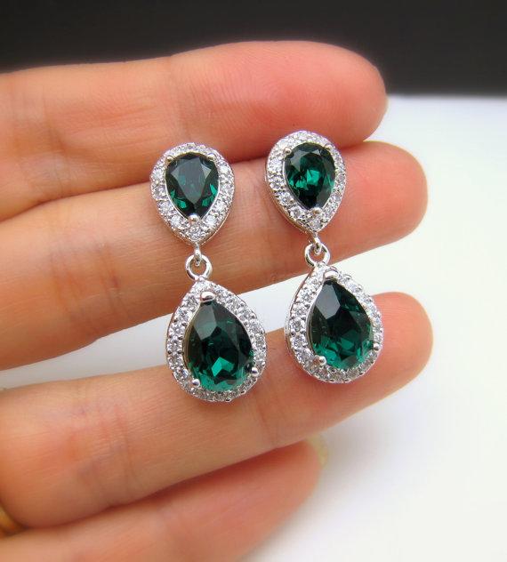 Wedding - wedding jewelry bridal jewelry wedding earrings bridal earrings Clear white teardrop AAA cubic zirconia emerald green crystal teardrop post