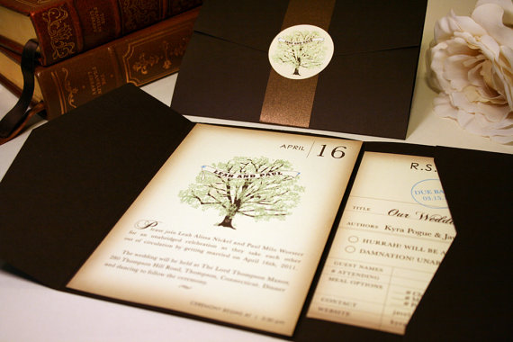 Wedding Invitations Sample, Vintage Book Rustic Wedding Invitation ...