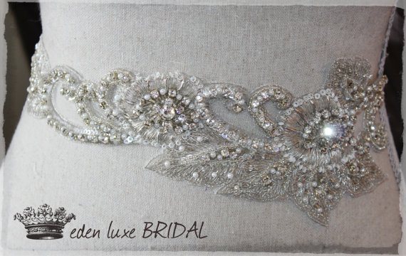 Beaded Sash Couture Embellished Thin Bridal Swarovski Crystallized Belt Exquisite Wedding Dress Embellishment
