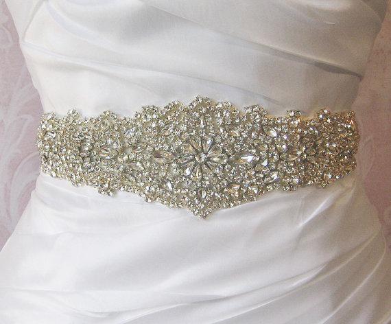 """Mariage - Crystal Rhinestone Sash, Diamond White Bridal Sash, Off White, Ivory, Champagne Wedding Belt, Wedding Sash, 13"""" of Rhinestones- ISIDORA"""