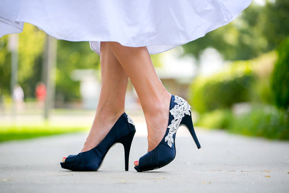 Wedding - Wedding Shoes. Navy Blue Wedding Shoes, Navy Heels, Blue Bridal Heels with Ivory Lace. US Size 8.5