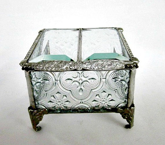 Silver Vintage Inspired Stained Glass Jewelry Box Ring Bearer 3 X Wedding Gift For Her Victorian Mothers Day Spring