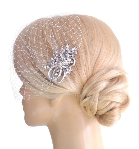 Mariage - BIRDCAGE VEIL ,bridal comb, (2 items),bridal veil wedding, Bridal Hair comb,,bridal head piece,bridal hair accessories