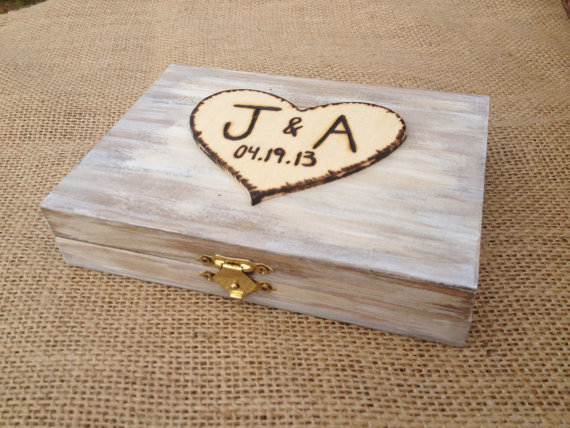 Wedding - Ring Bearer Box - Shabby Chic Rustic Wedding Decor - Ring Bearer Pillow Alternative - Personalized Ring Box