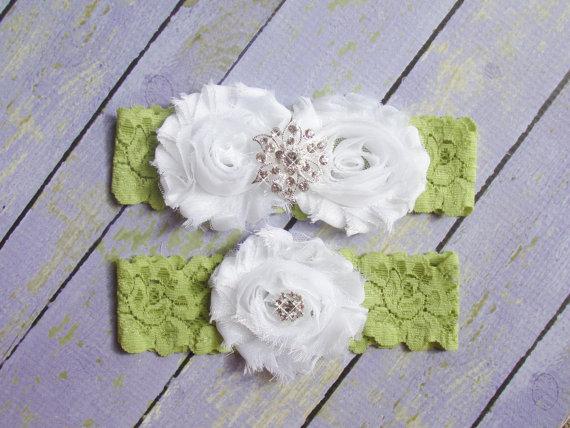 Mariage - Green Lace Garter, Green Bridal Garter, Garter Green, Garter Set, Garter Belt, Wedding Garter, Olive Garter, White Olive Garter