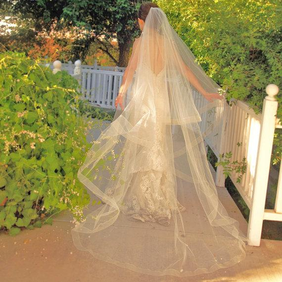 Mariage - Cathedral Wedding Veil - Drop Veil  With Sheer Organza Ribbon Edge - Simple Wedding Veil - Champagne Veil- Naples