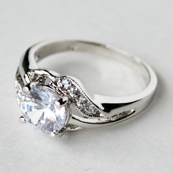 Свадьба - cz ring, cz wedding ring, cz engagement ring, cubic zirconia engagement ring, wave ring, anniversary ring size 5 6 7 8 10 - MC1074851AZ