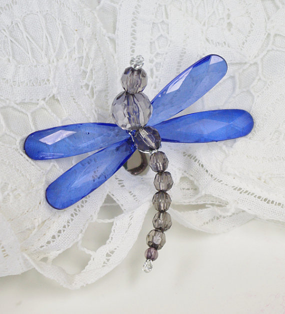 Mariage - Blue Dragonfly Hair Clip - Crystal Blue Wedding Hair Decoration - Dress or Shoe Clip